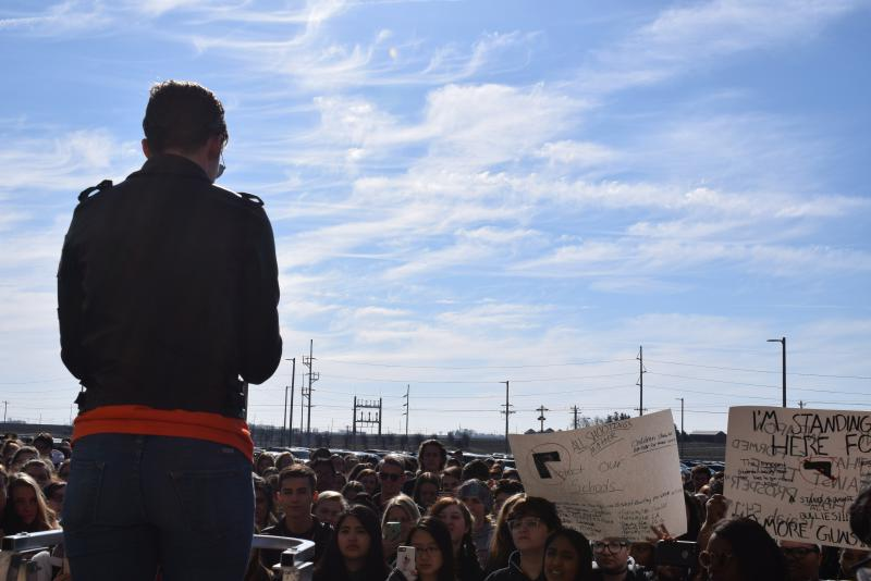 Students at Normal Community High School during the walkout demonstration Wednesday, March 14, 2018.