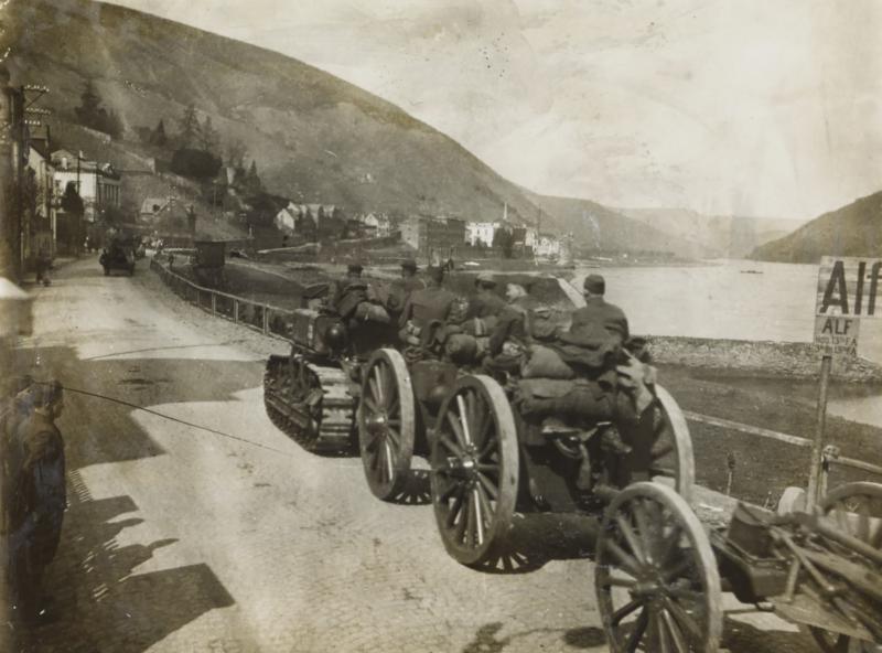 Holt equipment in a road in 1917 in Europe