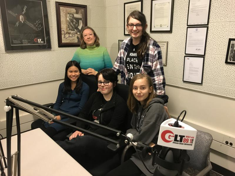 From left, Ellie Diggins, her mother Aleda Diggins, Ari Whitlock, Maddie Beirne, and Courtney Sims. The four girls are organizing a walkout at Kingsley Junior High School on March 14.