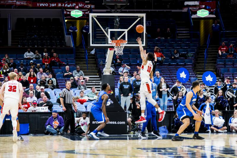 Illinois State Basketball attempts to score against Indiana State