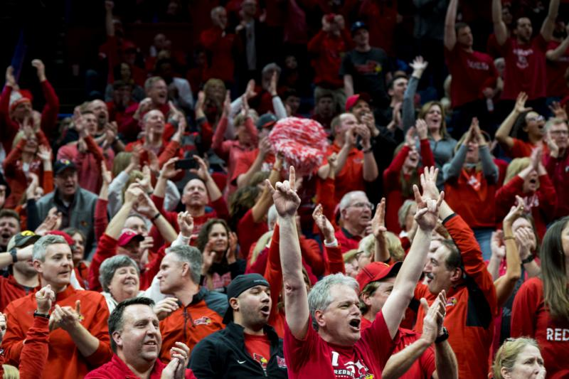 Redbird fans cheer as the Redbirds win the game against the Indiana State Sycamores.