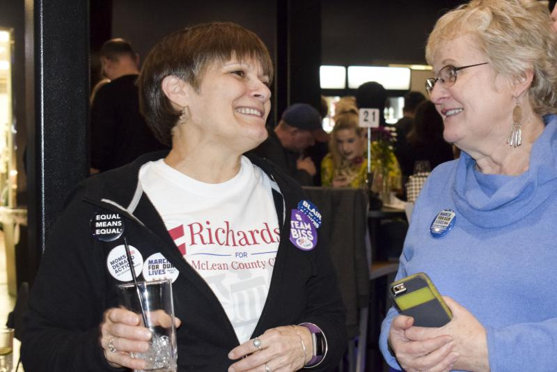 Watchinski supporters at her campaign watch party Tuesday, March 20, 2018, in downtown Bloomington.
