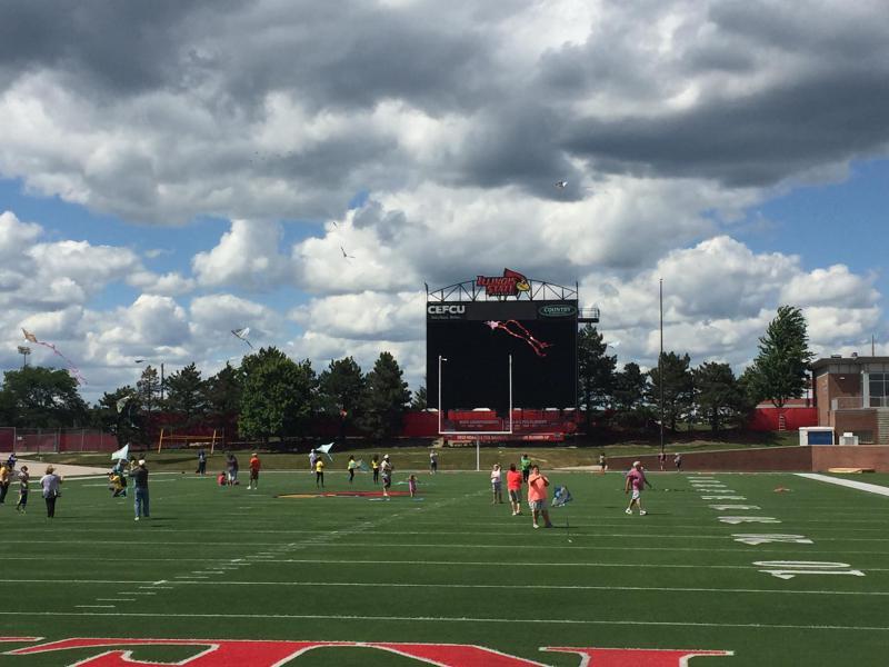 Kite flying at Hancock Stadium