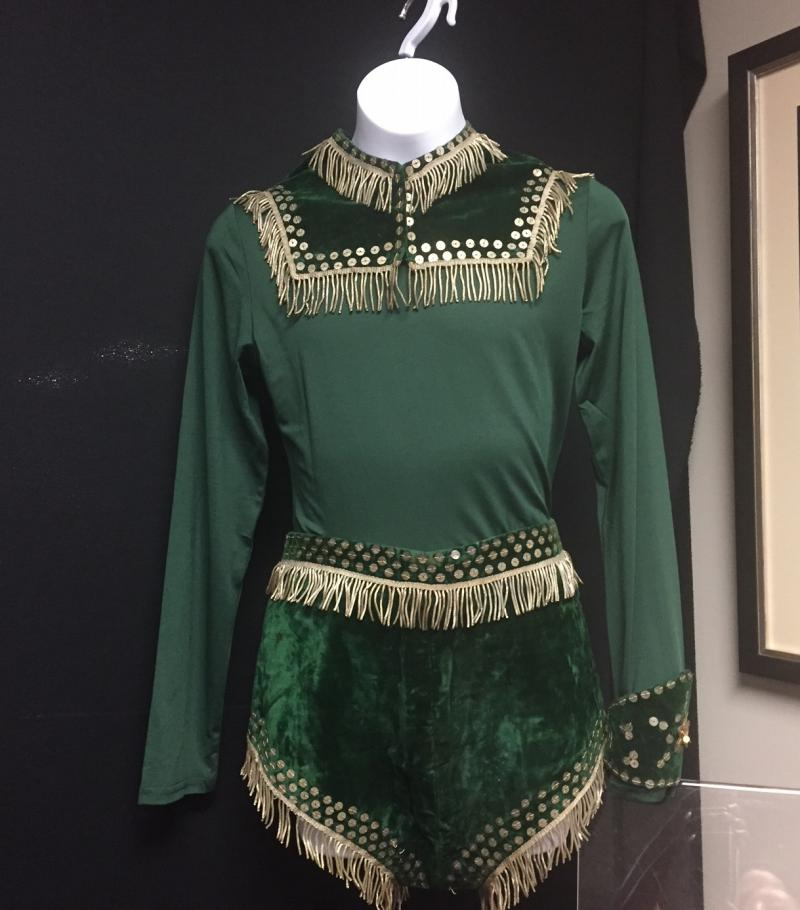 Green acrobat costume.