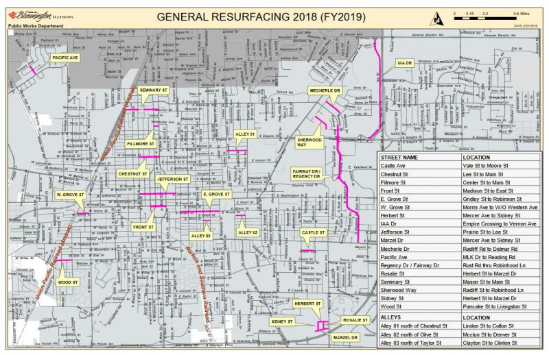 A map of the FY 2019 Street Improvement Plan