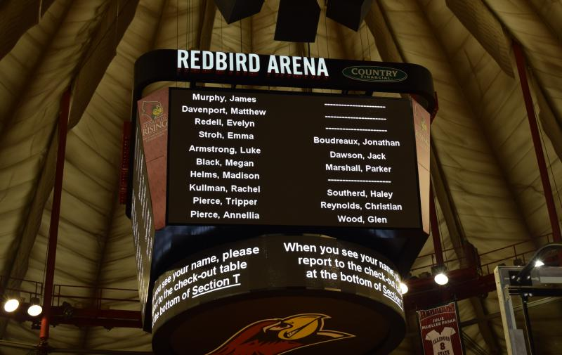 Students' names appeared on the scoreboard after their parent/guardian requested to reunite with them.