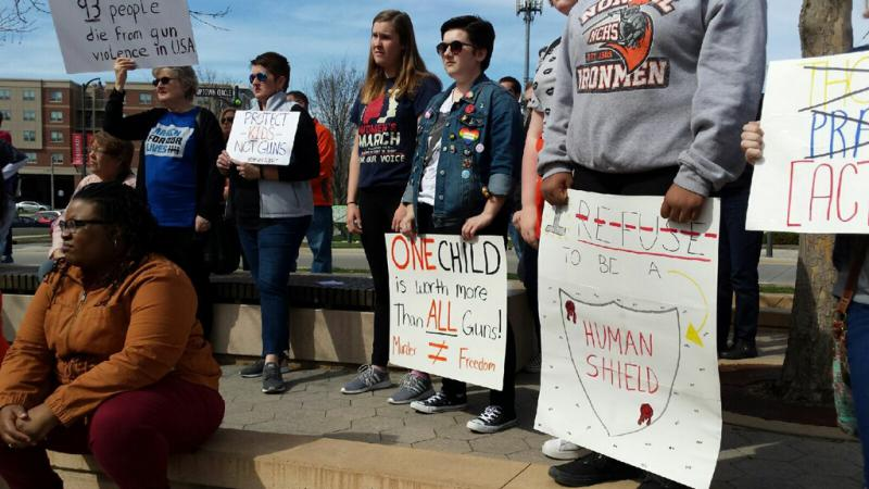 Students and supporters at the gun control rally Friday, April 20, 2018, in Uptown Normal.