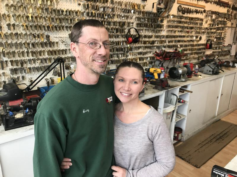 Andy and Marie Streenz inside their key shop in Uptown Normal in March.