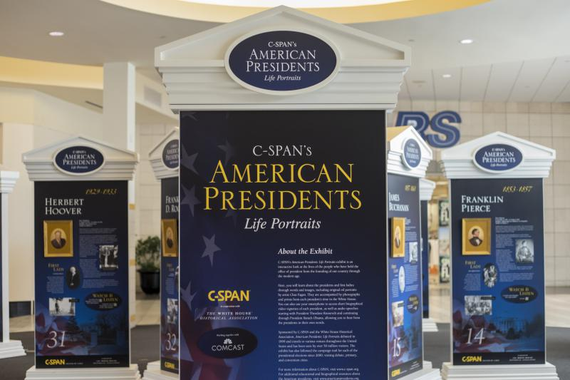 The presidential portraits at Eastland Mall in Bloomington.