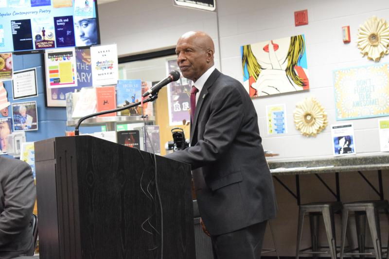 Illinois Secretary of State Jesse White speaks at Normal West on Thursday, April 12, 2018.