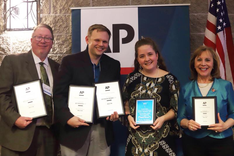 From left, GLT News Director Charlie Schlenker, Digital Content Director Ryan Denham, Student Reporter Baylee Steelman, and Reporter Judith Valente at the at the Illinois News Broadcasters Association spring convention in East Peoria.