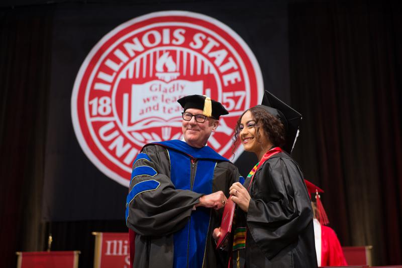 A student at Illinois State University's winter 2017 commencement.