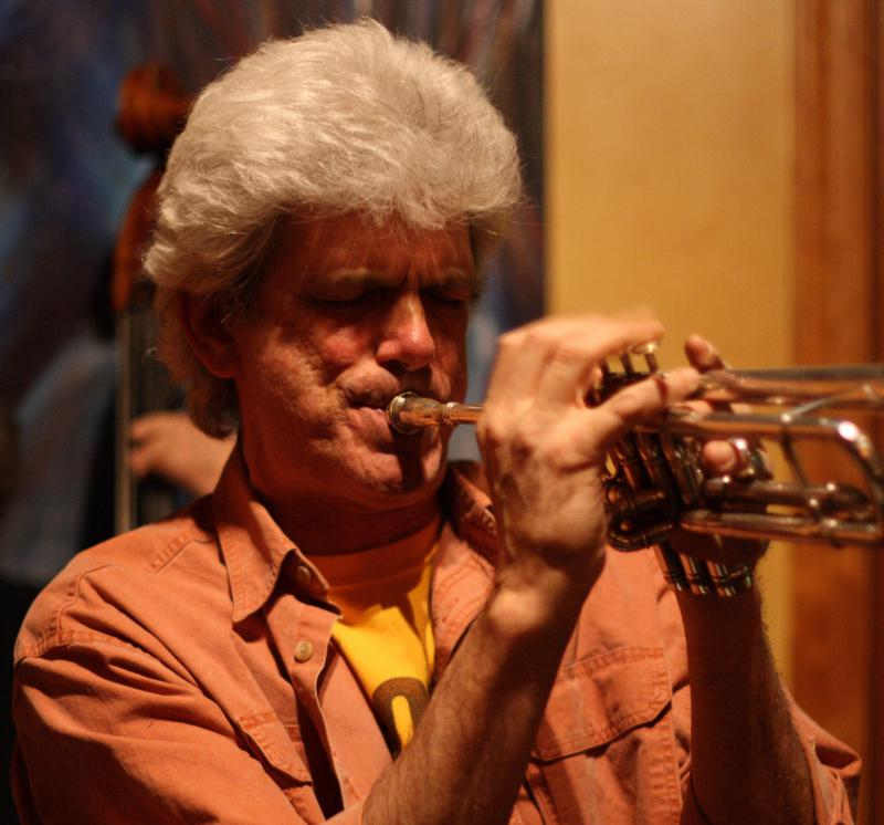 John D'earth playing his trumpet