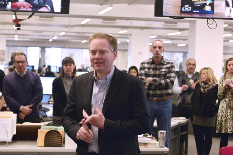 Jim Kirk addresses the New York Daily News newsroom. Kirk was interim executive editor at the Los Angeles Times, served nine days at the New York Daily News before being named editor in chief at the Los Angeles Times.