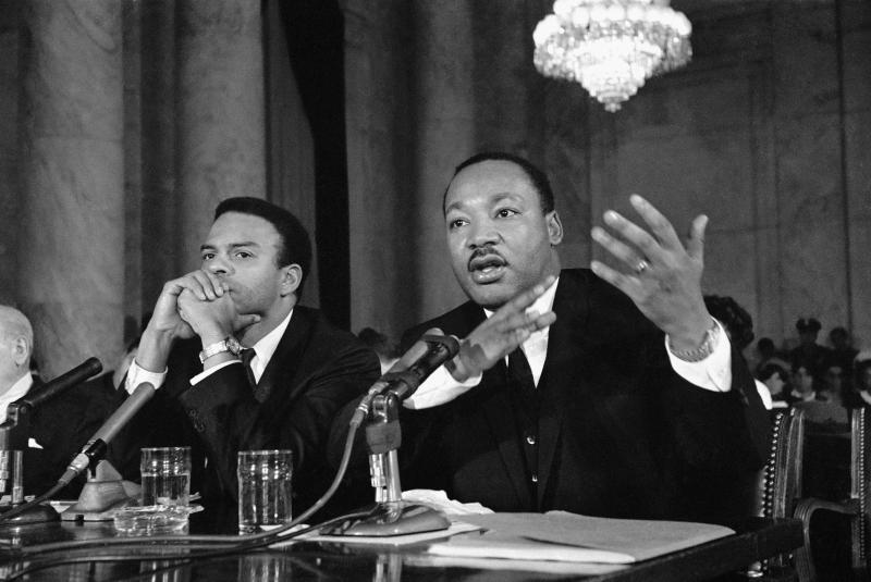 Dr. Martin Luther King Jr. testifies Dec. 15, 1966, before a Senate Government Operations Subcommittee studying urban problems and poverty.