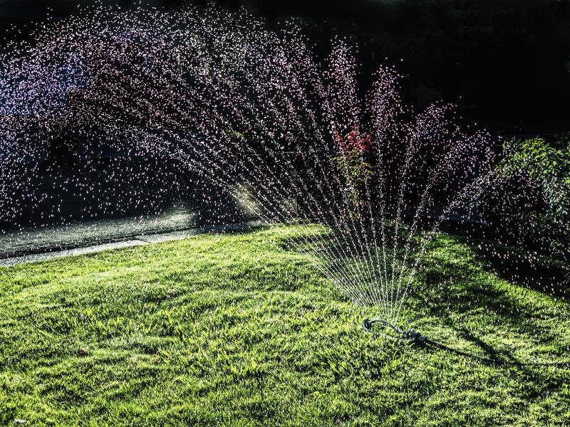 Sprinkler on lawn.