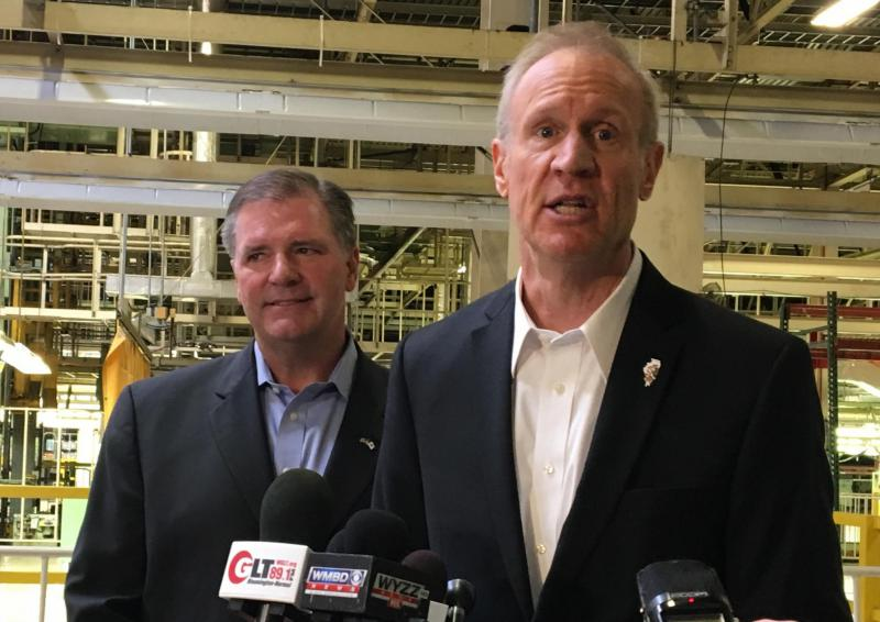 Gov. Bruce Rauner, right, with state Sen. Bill Brady during a visit to the Rivian plant in March 2017.