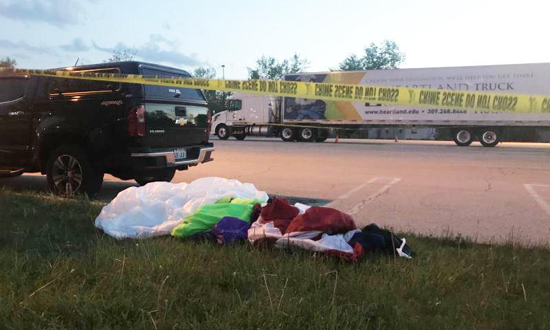 A parachute at the scene of the May 11 incident in Normal.