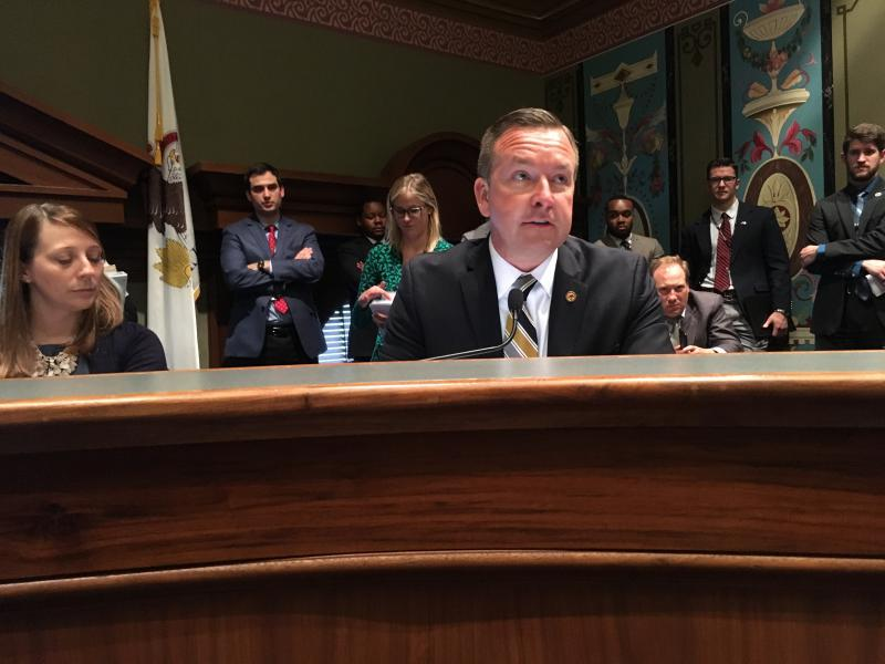 Sen. Andy Manar, D-Bunker Hill, explains the Illinois state budget agreement in a Senate Appropriations Committee in Wednesday, May 30, 2018, in Springfield.