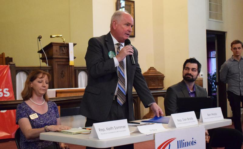 From left, Jill Blair, Dan Brady, and Ben Webb at Thursday's forum hosted by the Illinois Alliance for Retired Americans.