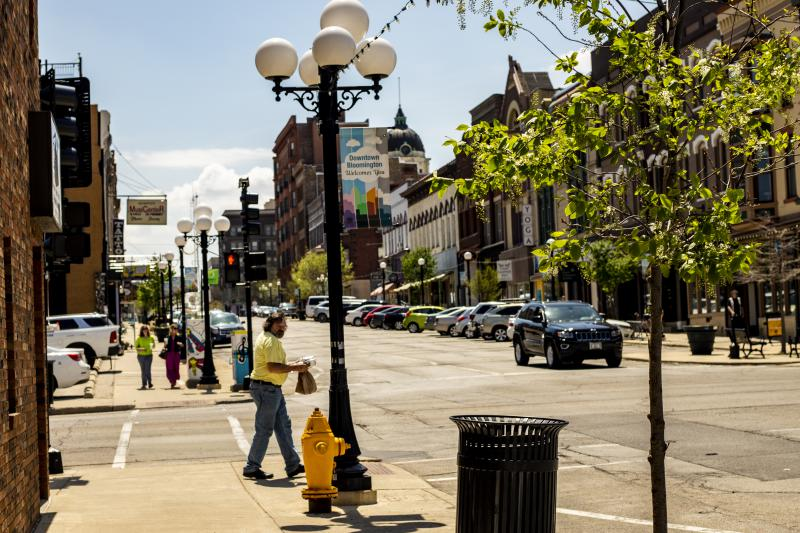 Downtown Bloomington around lunchtime on a recent weekday.