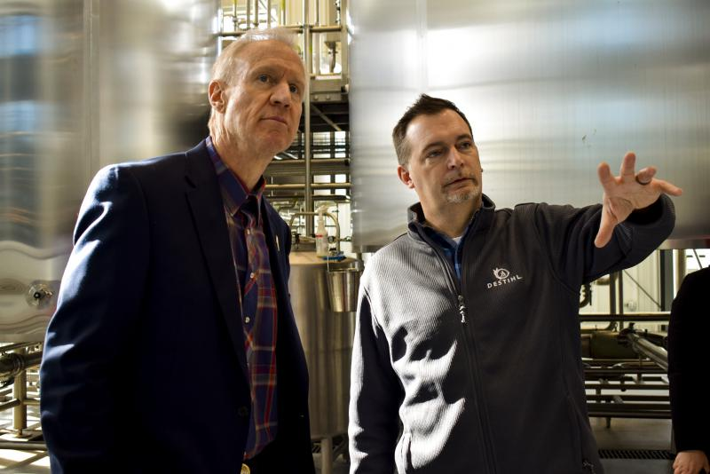 Destihl CEO and Brewmaster Matt Potts, right, with Gov. Bruce Rauner at his brewery in February.