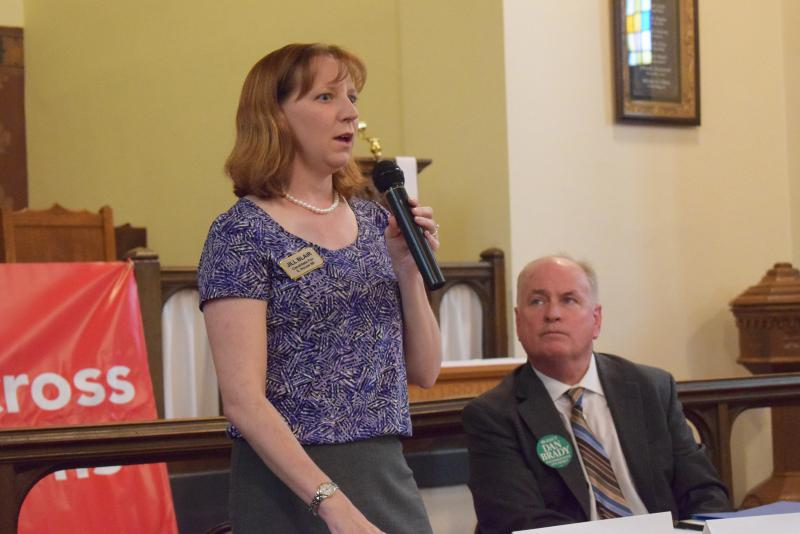 Democrat Jill Blair at Thursday's forum hosted by the Illinois Alliance for Retired Americans.