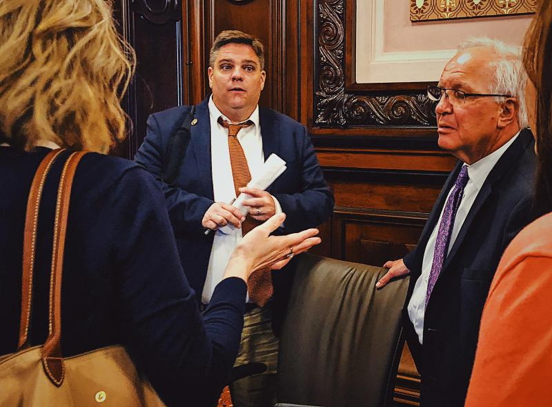 State Sens. Chapin Rose, left, and Pat McGuire try to find a compromise for one of their college access bills.