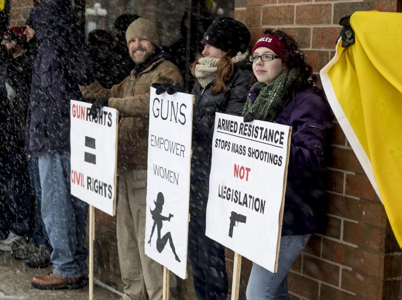 Gun-rights supporters at the March For Our Lives rally in downtown Bloomington in March 2018.