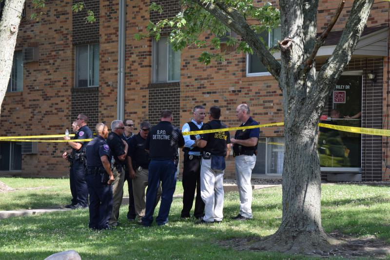 Bloomington Police outside the location of Monday's shooting at 311 Riley Drive, Bloomington.