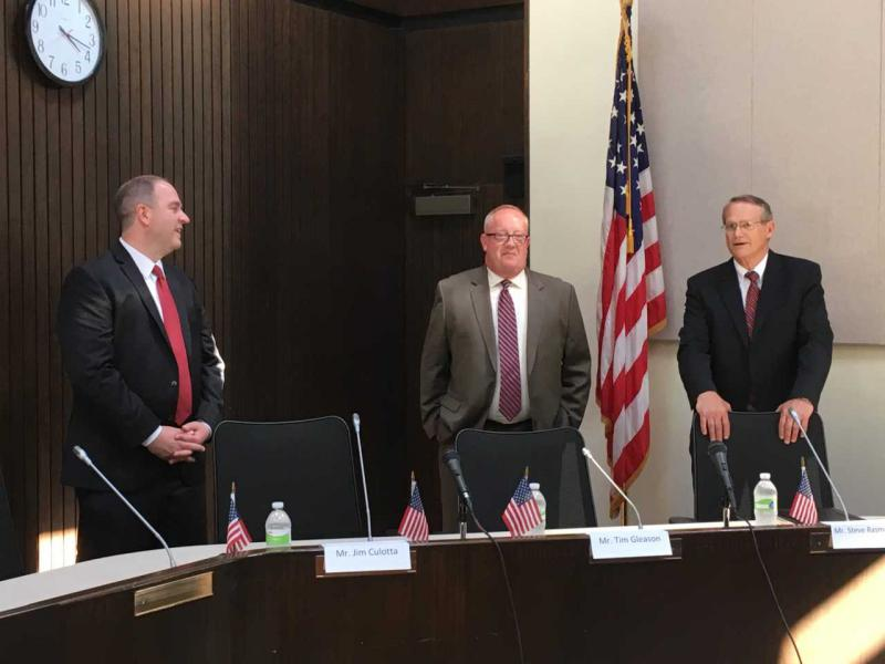 Bloomington city manager finalists (left to right) Jim Culotta, Tim Gleason and Steve Rasmussen met with the media at Bloomington City Hall on Tuesday.