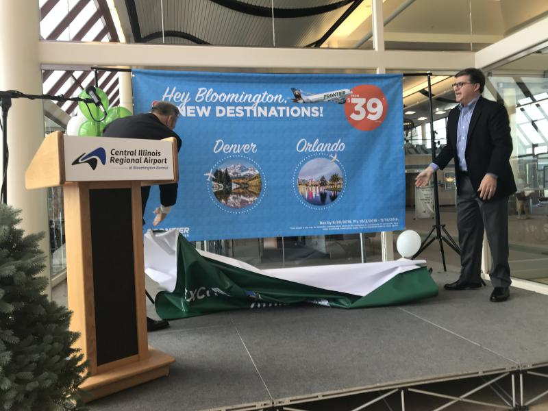 Frontier's return was announced at a press conference at Central Illinois Regional Airport in Bloomington on Tuesday, June 19, 2018.