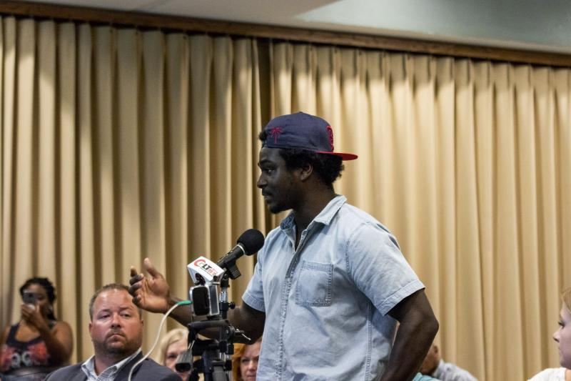 Dominique Stevenson asks a question during GLT's event Wednesday, June 27, 2018, at Illinois State University.
