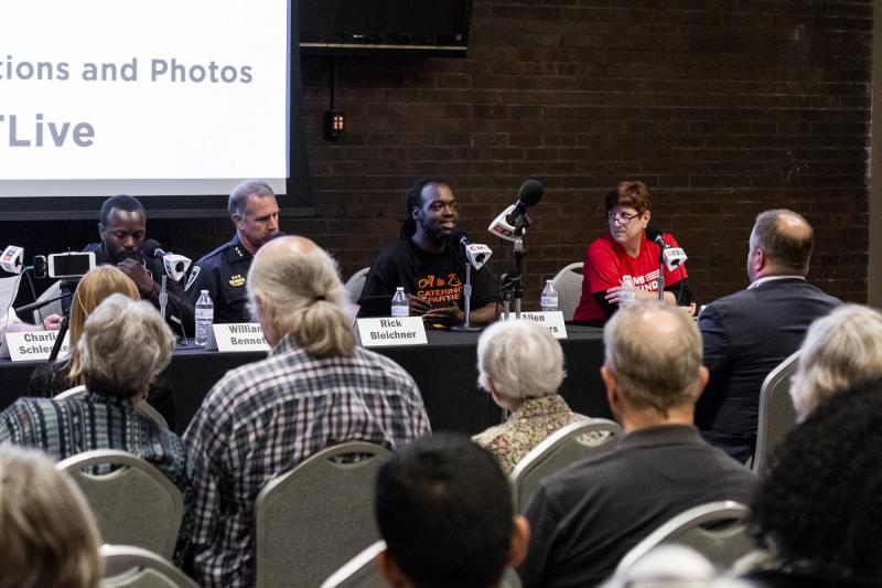 More than 100 people attended a forum on gun violence at Illinois State University's Bone Student Center.