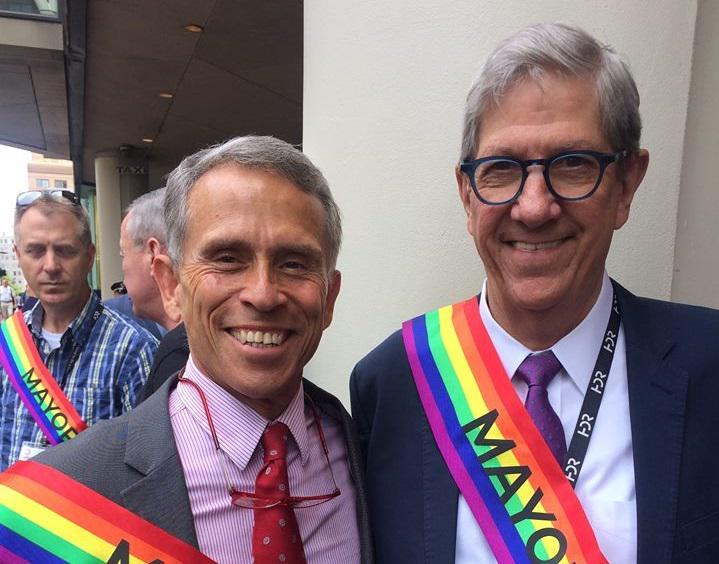 Mayors Tari Renner, left, and Chris Koos in Boston.