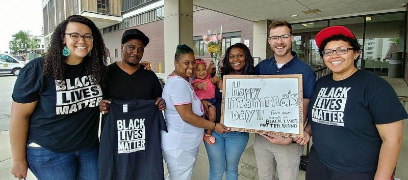 Oliva Butts, left and members of BLM BloNo after bailing out Myleria Shane Briggs on Mother's Day