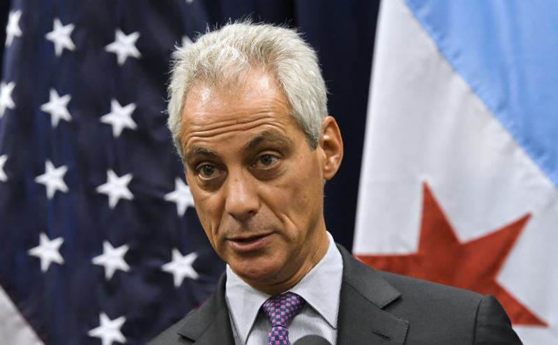 Chicago Mayor Rahm Emanuel speaks during a news conference in Chicago.