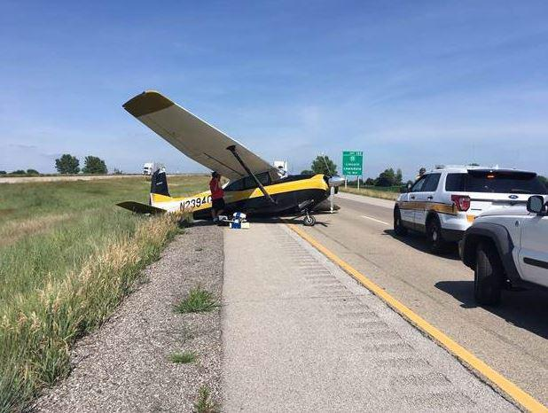 The small aircraft landed in the northbound lanes of I-55 near Lawndale in Logan County, State Police said.