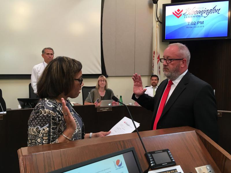 New Bloomington City Manager Tim Gleason takes the oath of office July 23, 2018, at City Hall.