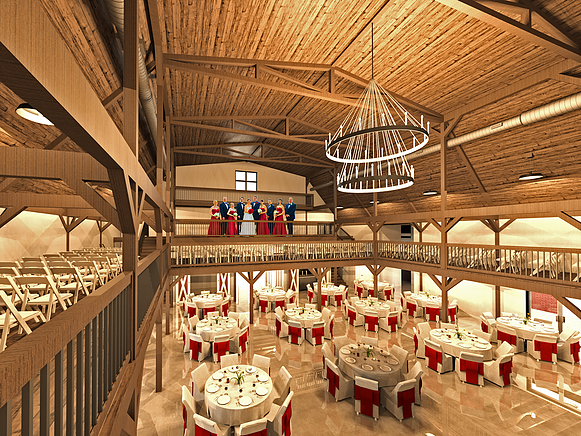 Large theater with chandelier hanging from curved wooden roof in a proposed dinner theater building.