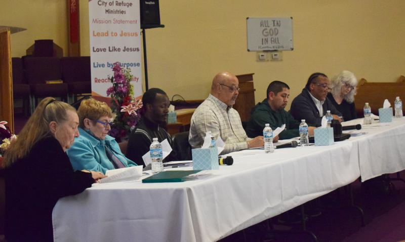 Bloomington's Public Safety and Community Relations Board at its first quarterly meeting Wednesday, March 21, 2018, at City of Refuge Church in Bloomington.