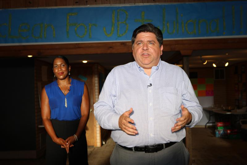 Democratic candidate for governor J.B. Pritzker and lieutenant governor candidate Juliana Stratton opened a campaign office in Downtown Bloomington at 417 N. Main Street on Thursday, July 12, 2018.