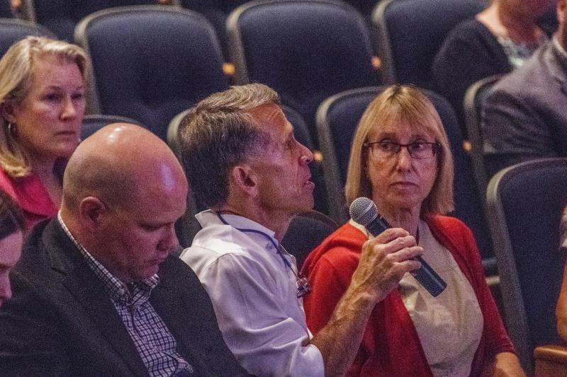Bloomington Mayor Tari Renner asks a question during the joint sports complex meeting on July 16, 2018, at Heartland Community College in Normal.