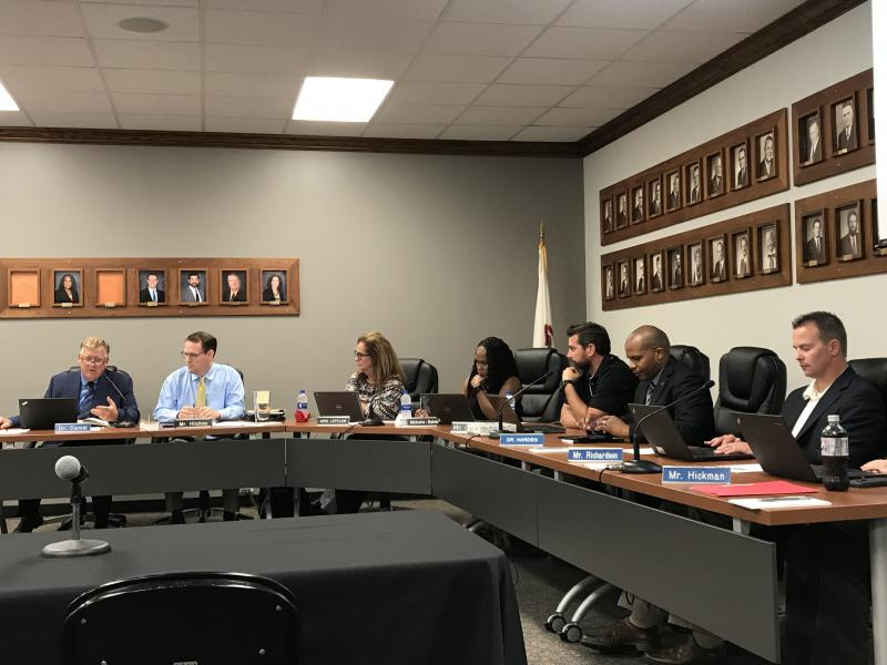 The Unit 5 school board at its meeting Wednesday, July 11, 2018.