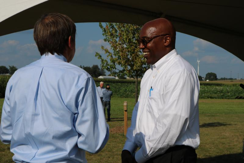 Sen. Kwame Raoul, Democratic Attorney General candidate, at an Illinois Agriculture Roundtable Forum at Rader Family Farm in Normal on August 22, 2018.