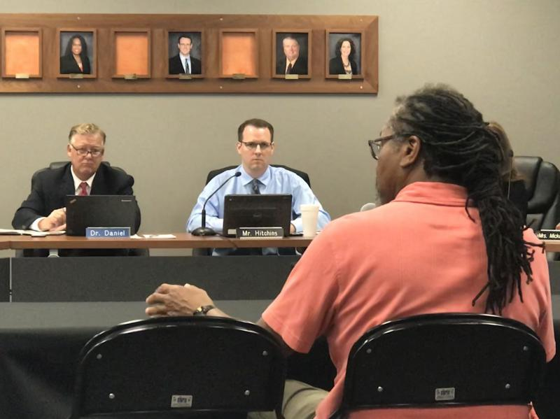 Bloomington-Normal resident Jerry James addresses the Unit 5 Board of Education Aug. 8, 2018.