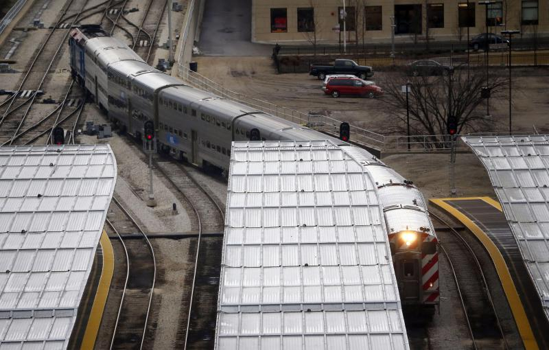 Metra train pulling in at La Salle street station.
