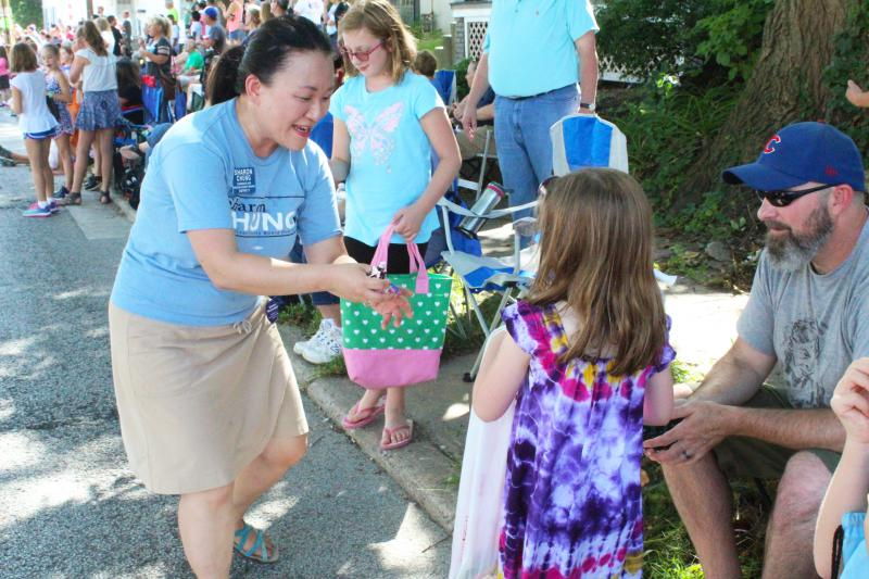 Sharon Chung gives out candy