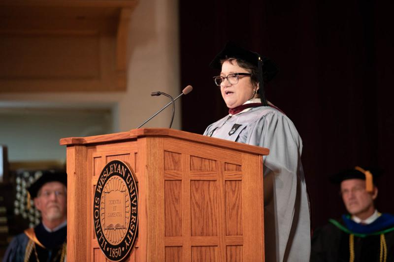 becoming nicole author delivers iwu convocation wglt