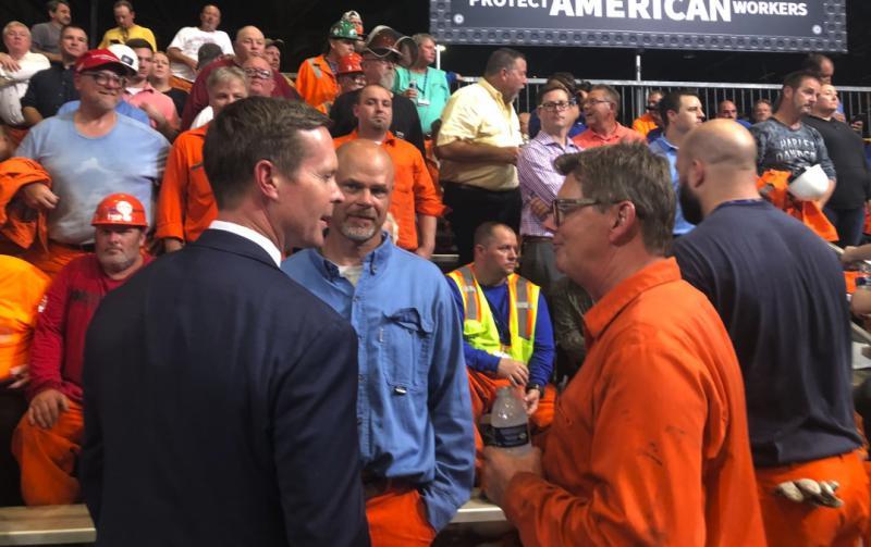 Rodney Davis talks to steelworkers